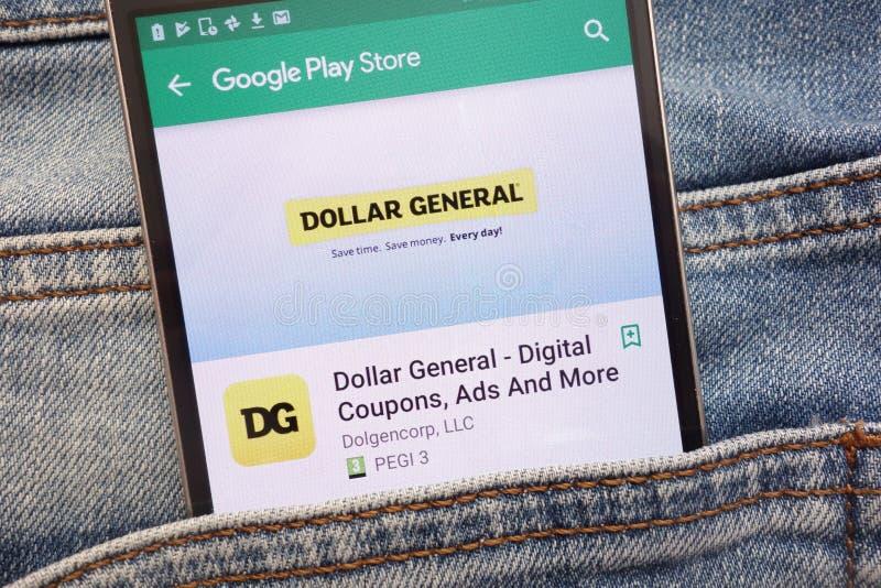 Dollargeneral - Digital kuponger, annonser och mer app på Google Play Storewebsiten som visas på smartphonen som döljas i jeans,  royaltyfri bild