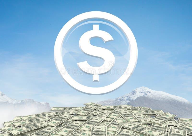 Dollarglaskreisikone auf Stapel von Gelddollar in den Winterbergen vektor abbildung