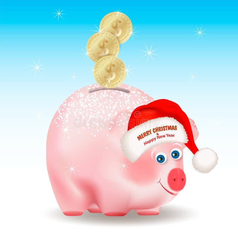 Dollarguldmynt som faller in i pengarsvinbanken Lyckönskan för glad jul och för lyckligt nytt år på Santa Claus den röda hatten C stock illustrationer