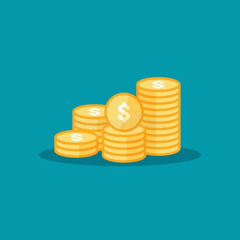 dollarhögen myntar symbolen guld- guld- pengarbunt för vinstfinansiering begrepp för tillväxt för affärsinvestering för informati vektor illustrationer