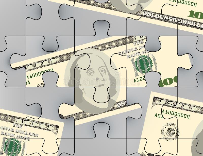 Dollari americani di scena di puzzle illustrazione vettoriale