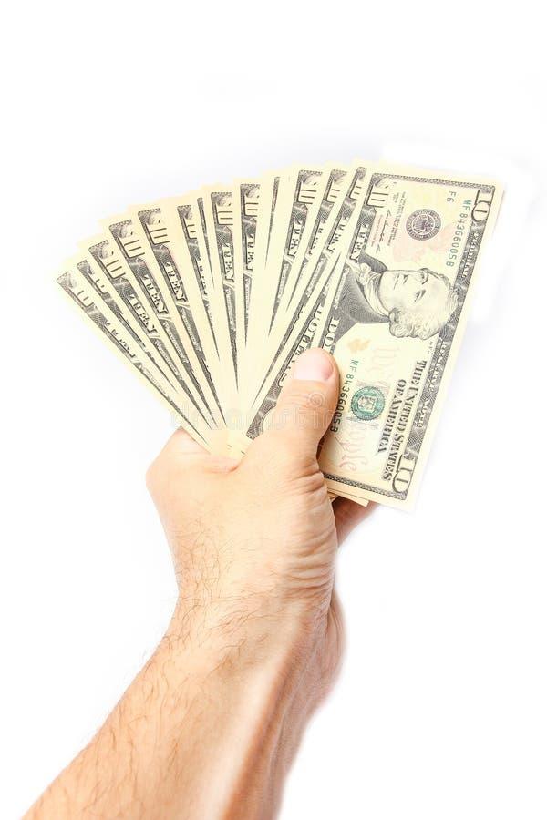 Dollari dei soldi nelle mani su un fondo bianco fotografie stock libere da diritti
