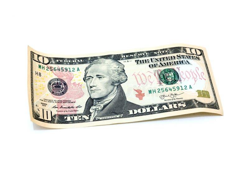 10 dollari di banconota immagini stock