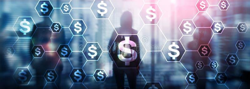 Dollari di icone, struttura di rete dei soldi ICO, commercio ed investimento Crowdfunding immagine stock