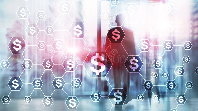 Dollari di icone, struttura di rete dei soldi ICO, commercio ed investimento Crowdfunding immagine stock libera da diritti