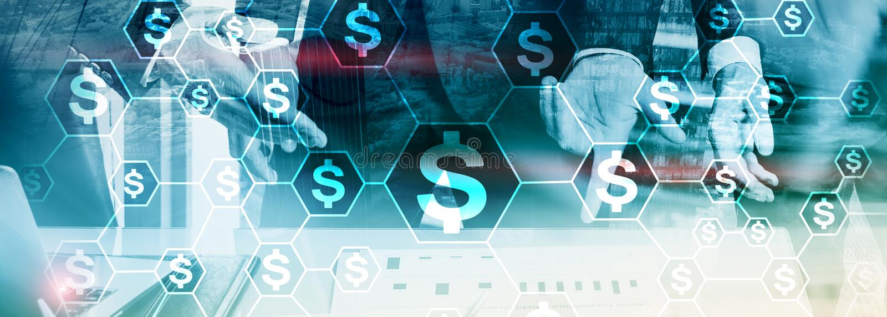Dollari di icone, struttura di rete dei soldi ICO, commercio ed investimento Crowdfunding immagini stock libere da diritti