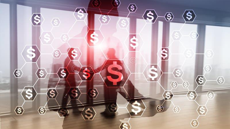 Dollari di icone, struttura di rete dei soldi ICO, commercio ed investimento Crowdfunding fotografia stock