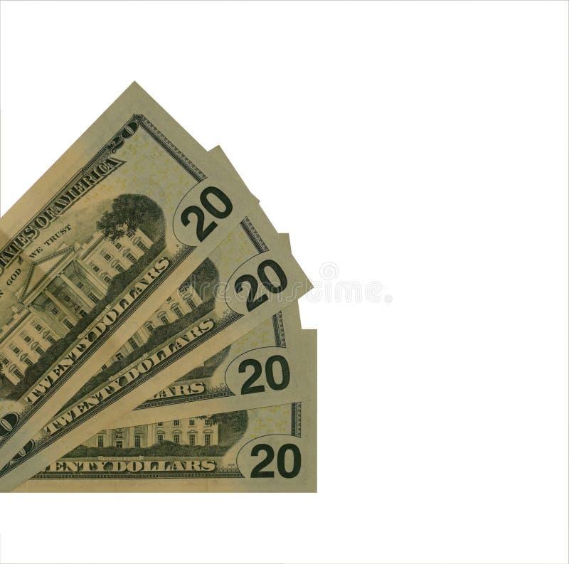Dollari di U.S.A. di valore 20 isolati fotografie stock libere da diritti