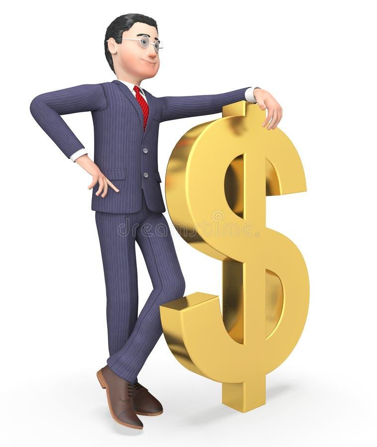 Dollari di uomo d'affari Represents Wealthy Bank e rappresentazione degli imprenditori 3d illustrazione vettoriale