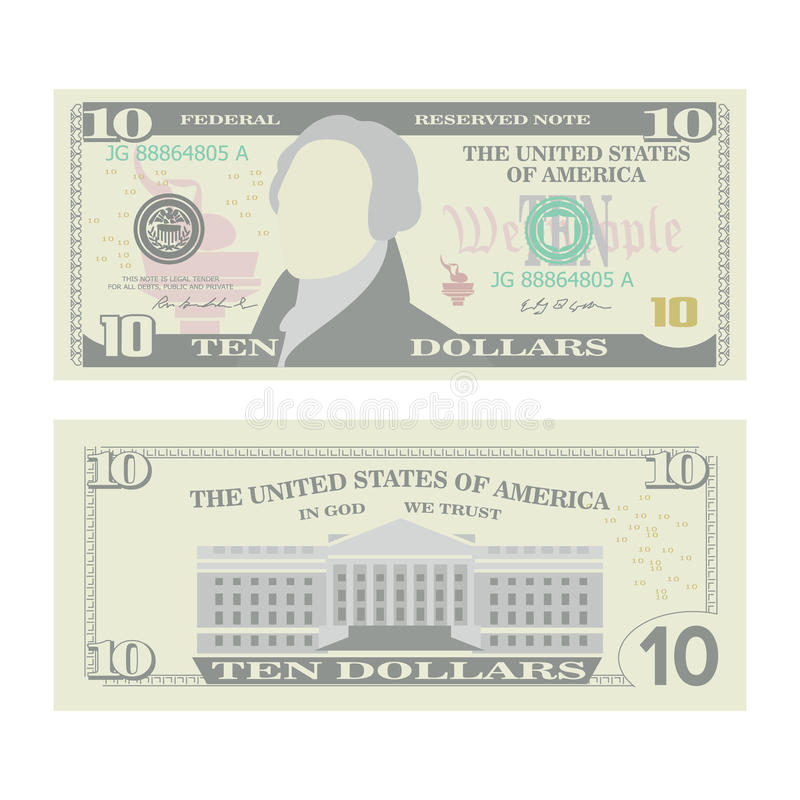 10 dollari di vettore della banconota Valuta degli Stati Uniti del fumetto Due lati dei soldi Bill Isolated Illustration di dieci royalty illustrazione gratis