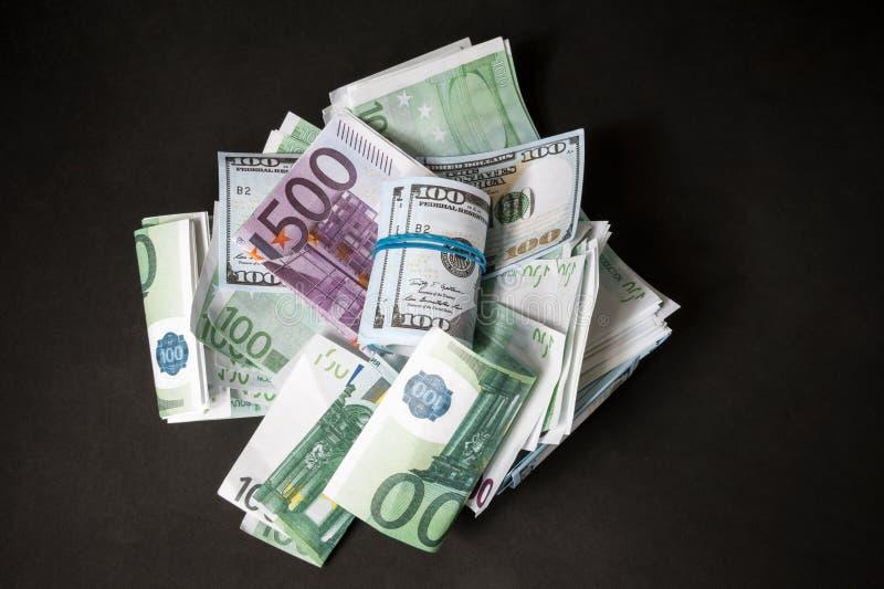 Dollari e euro fotografia stock libera da diritti