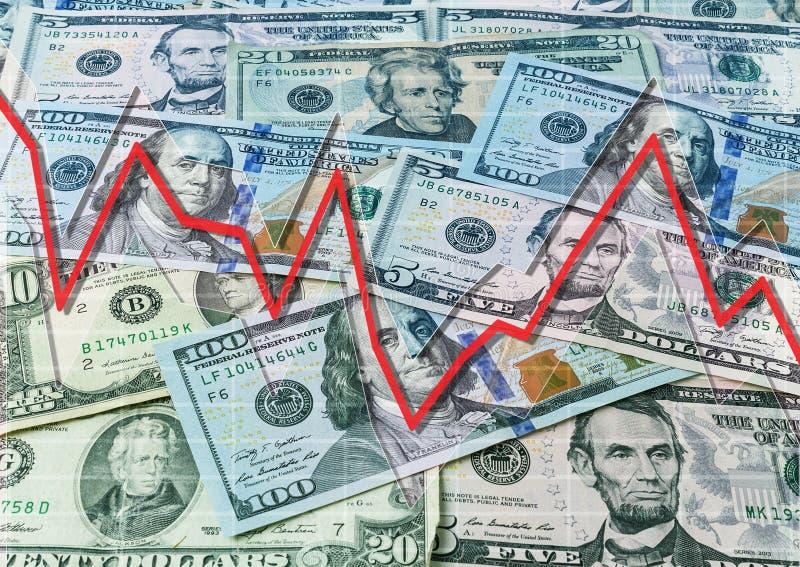 Dollari e grafico discendente immagini stock
