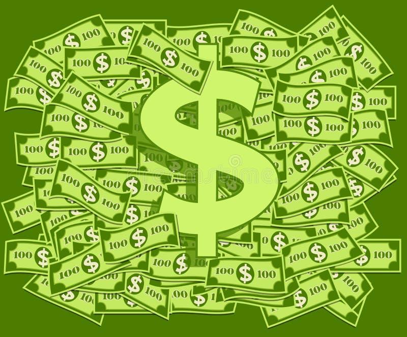 Dollari e simbolo del dollaro illustrazione di stock