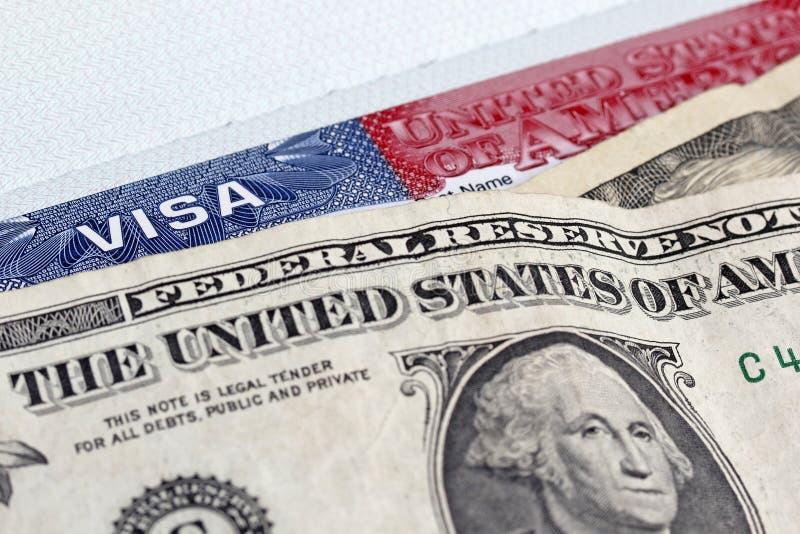 Dollari e visto degli Stati Uniti fotografie stock libere da diritti