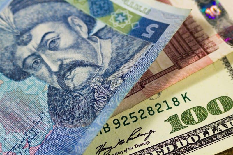 Dollari, euro e hryvnia immagini stock libere da diritti