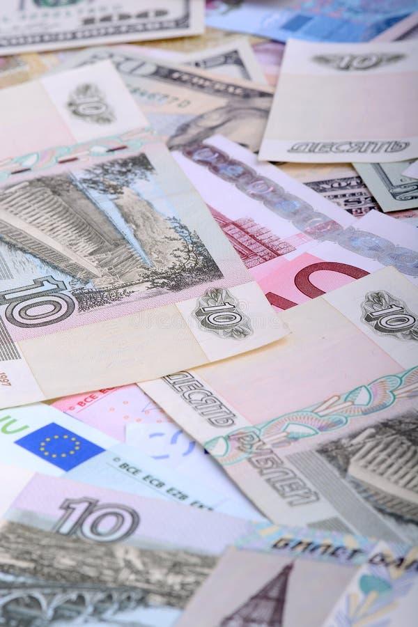 Dollari, euro, rubli russe - soldi del mondo immagine stock libera da diritti