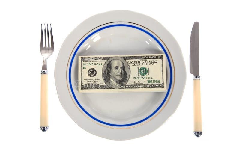 Dollari sulla zolla dell'alimento fotografie stock
