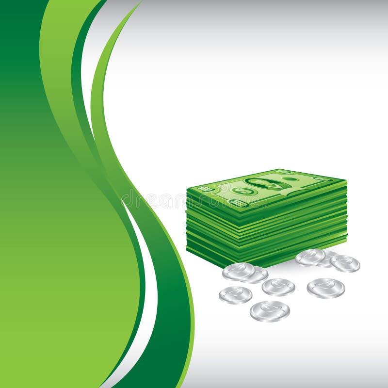 Dollari verticali e centesimi dell'onda verde illustrazione vettoriale