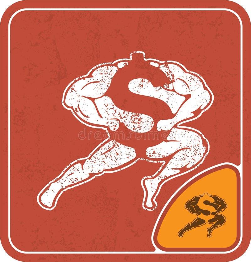 Dollarikone mögen Bodybuilder auf roter Hintergrundvektorillustration stock abbildung