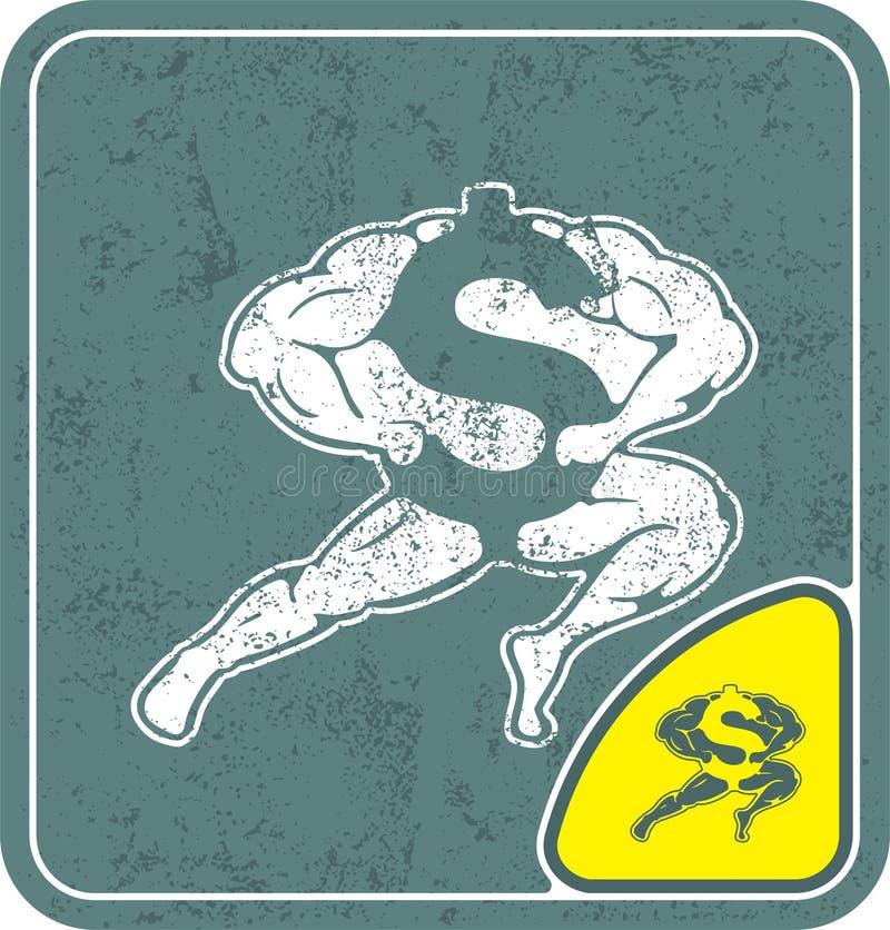 Dollarikone mögen Bodybuilder auf schäbiger Hintergrundvektorillustration lizenzfreie abbildung