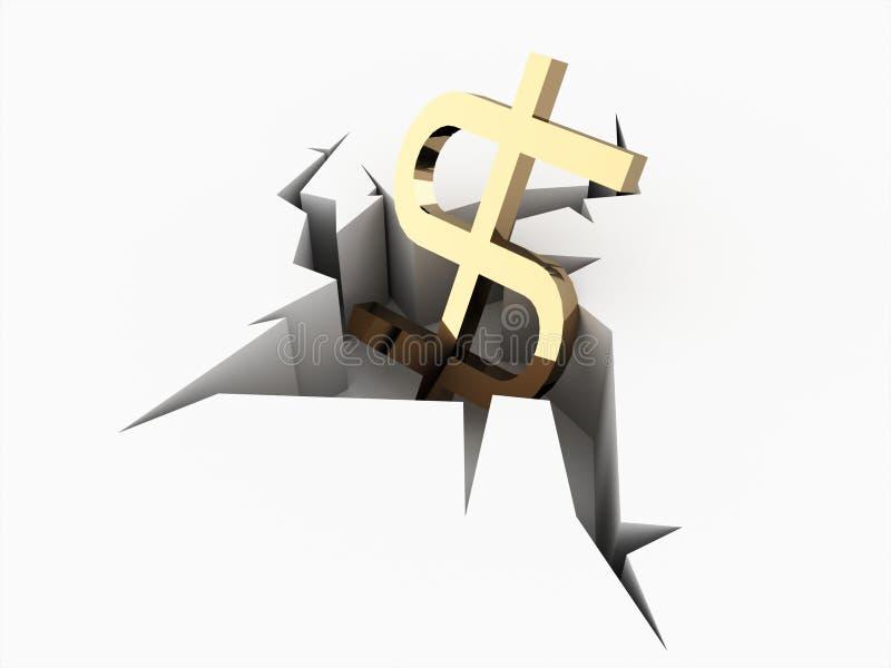 Dollarikone zerschmettert auf Bruch stock abbildung