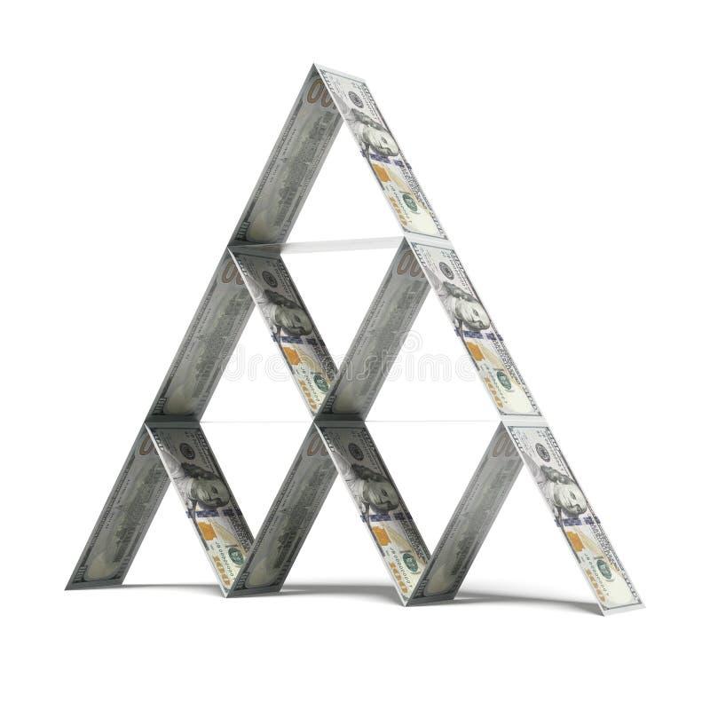 Dollarkaartenhuis vector illustratie
