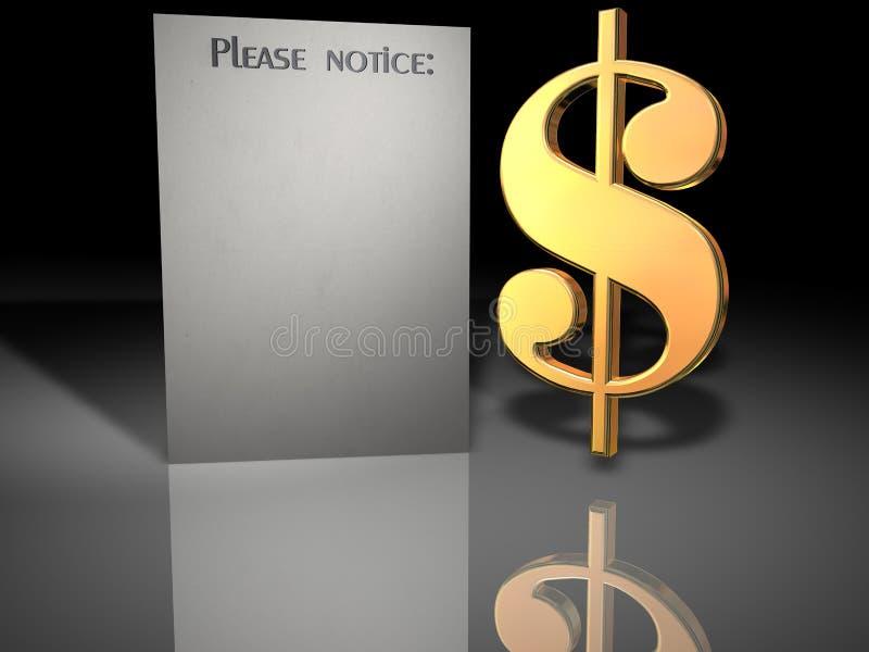 dollarmeddelandet undertecknar oss royaltyfri illustrationer
