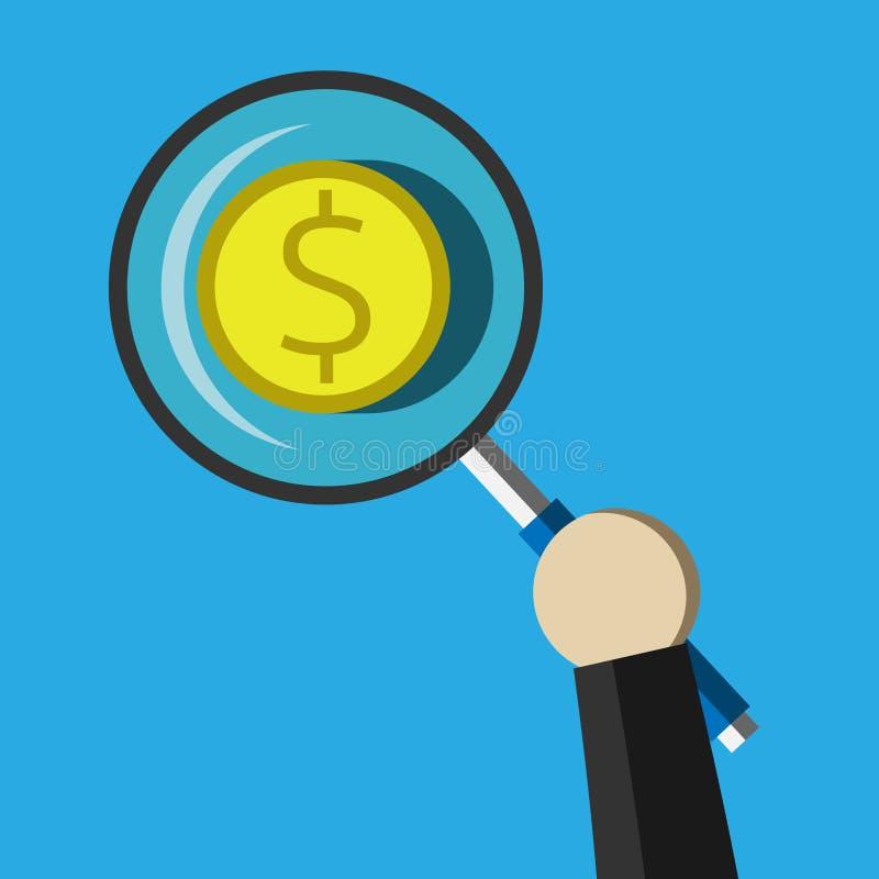Dollarmuntstuk onder meer magnifier vector illustratie