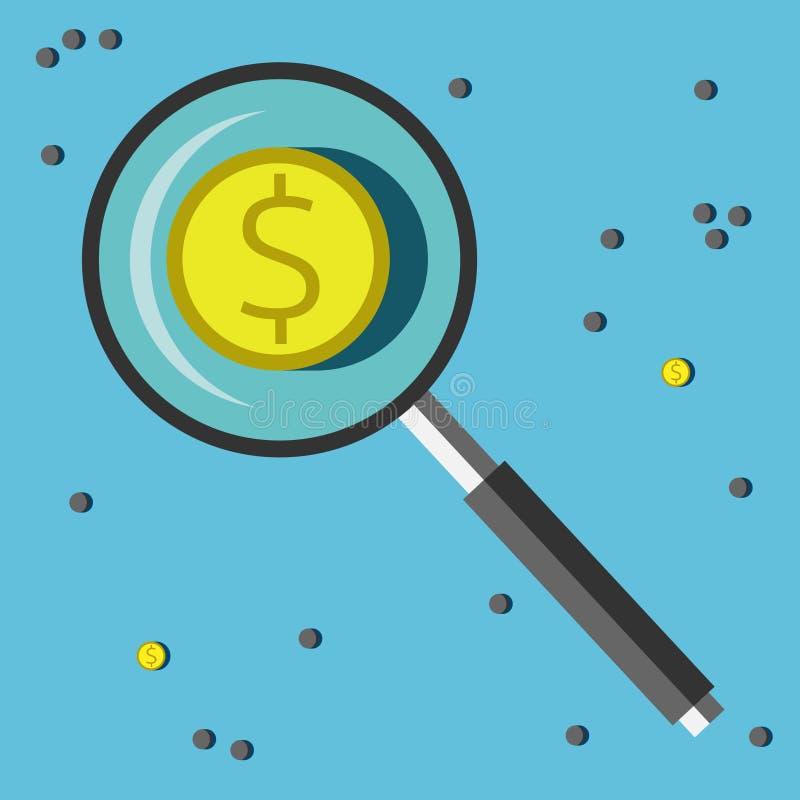 Dollarmuntstukken en stenen vector illustratie