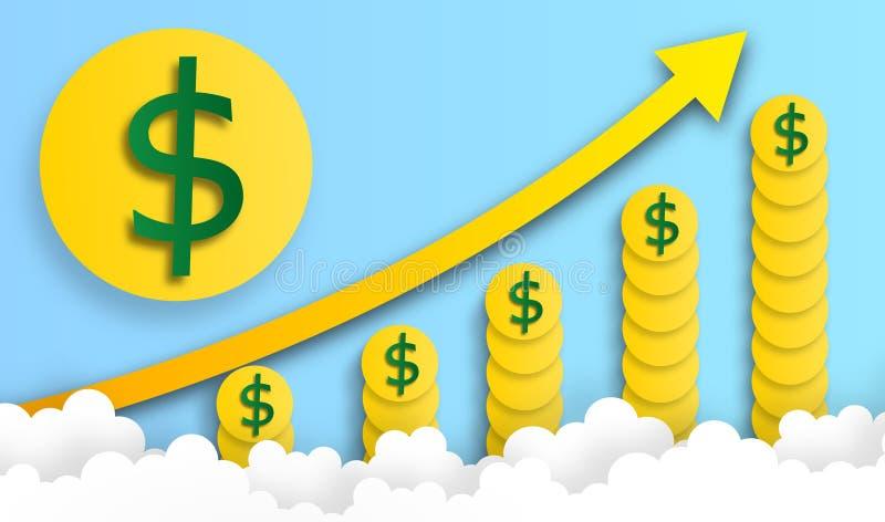 Dollarmyntet ordnar i grafformlöneförhöjning i himlen med molnet, vektorn, illustrationen, pappers- konst vektor illustrationer