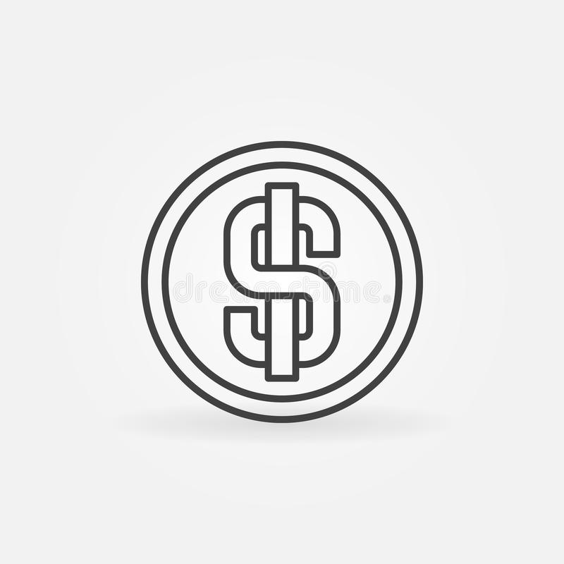 Dollarmyntlinje symbol royaltyfri illustrationer