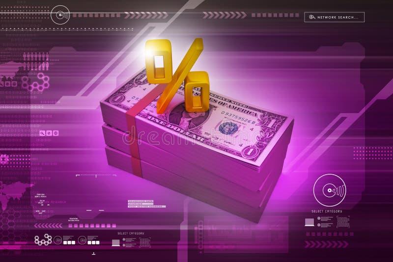 Dollarnota's met percentageteken royalty-vrije illustratie