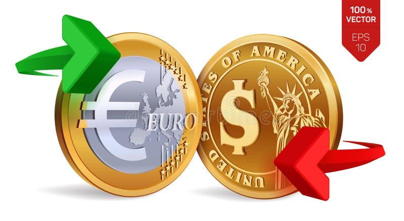 Dollaro all'euro cambio Dollaro ed euro monete Concetto di scambio Monete dorate con il simbolo del dollaro e dell'euro con verde illustrazione vettoriale