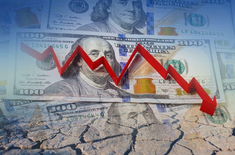 Dollaro americano, freccia di crisi finanziaria in rosso fotografie stock
