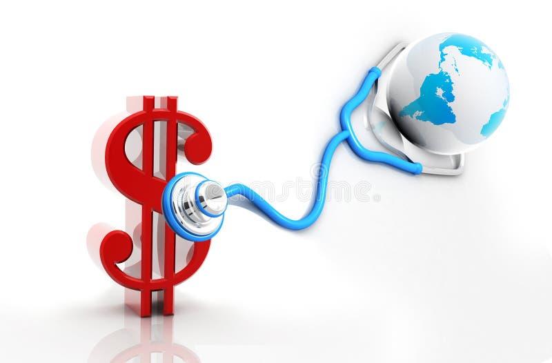 Dollaro con lo stetoscopio illustrazione di stock