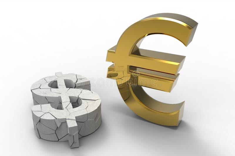 Dollaro contro l'euro illustrazione di stock