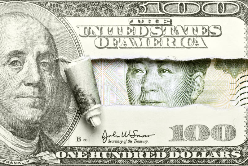 Dollaro contro Yuan immagini stock