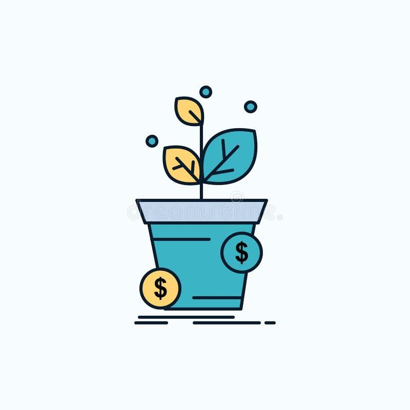 dollaro, crescita, vaso, profitto, icona piana di affari segno e simboli verdi e gialli per il sito Web e il appliation mobile Ve illustrazione vettoriale