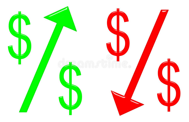 Dollaro d'innalzamento e di caduta illustrazione vettoriale