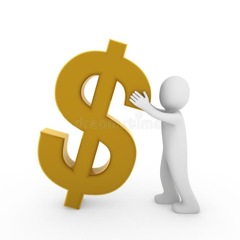 dollaro dell'essere umano 3d illustrazione di stock