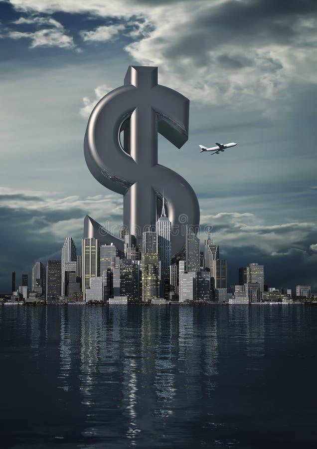 Dollaro della città di affari illustrazione di stock