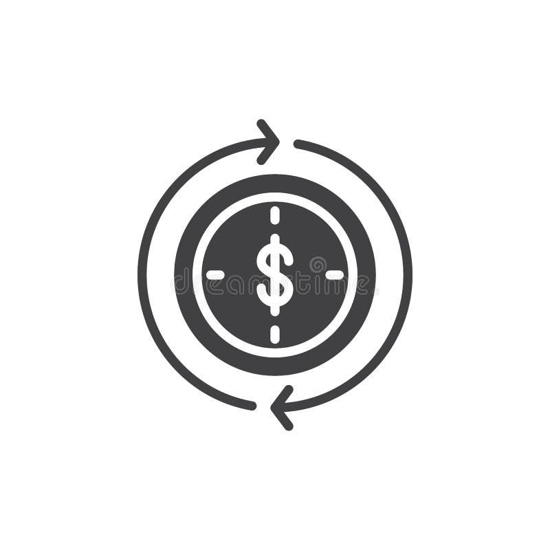Dollaro dentro l'orologio ed il vettore di circonduzione dell'icona delle frecce royalty illustrazione gratis