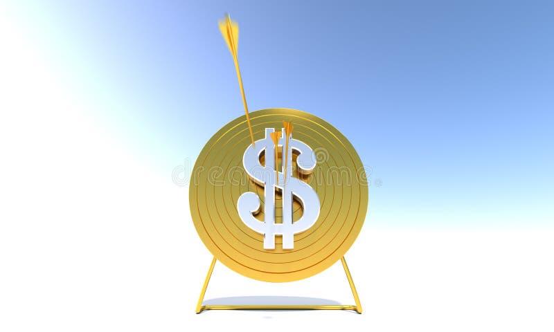 Dollaro dorato dell'obiettivo di tiro all'arco fotografie stock libere da diritti