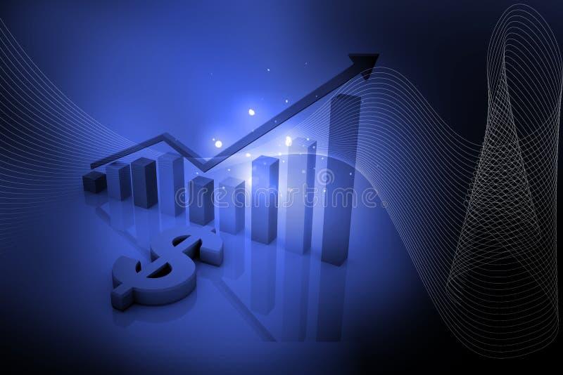 Dollaro e grafico blu illustrazione di stock