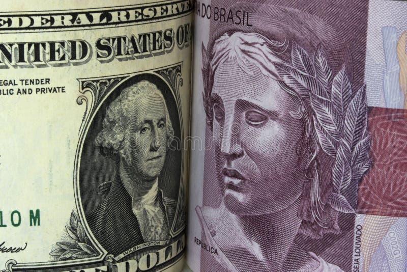 Dollaro e reale fotografie stock libere da diritti
