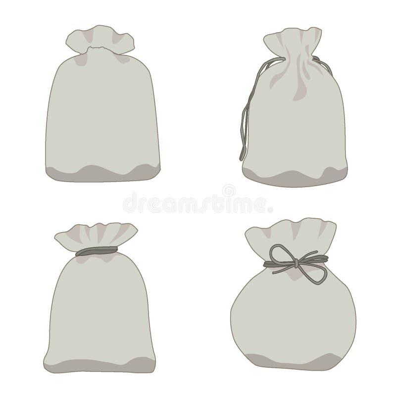 Dollaro e regalo grigi della borsa dei soldi su fondo bianco illustrazione vettoriale