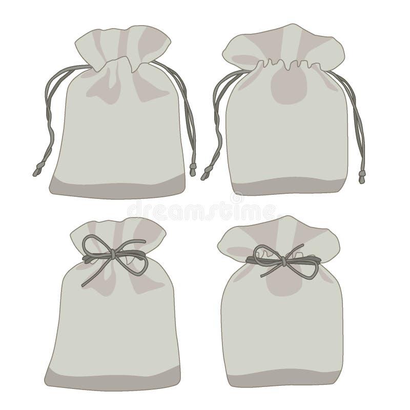 Dollaro e regalo grigi della borsa dei soldi su fondo bianco royalty illustrazione gratis