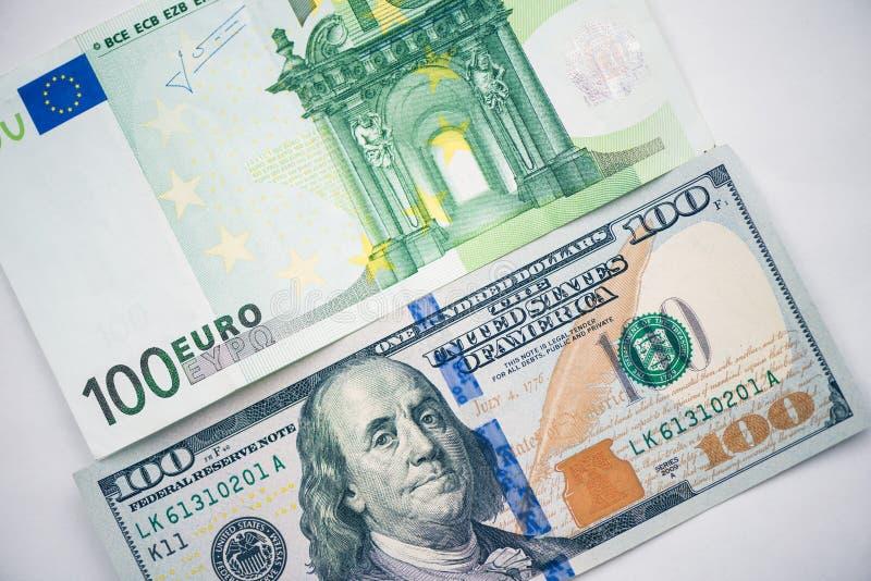 Dollaro, euro banconote Valute internazionali fotografia stock