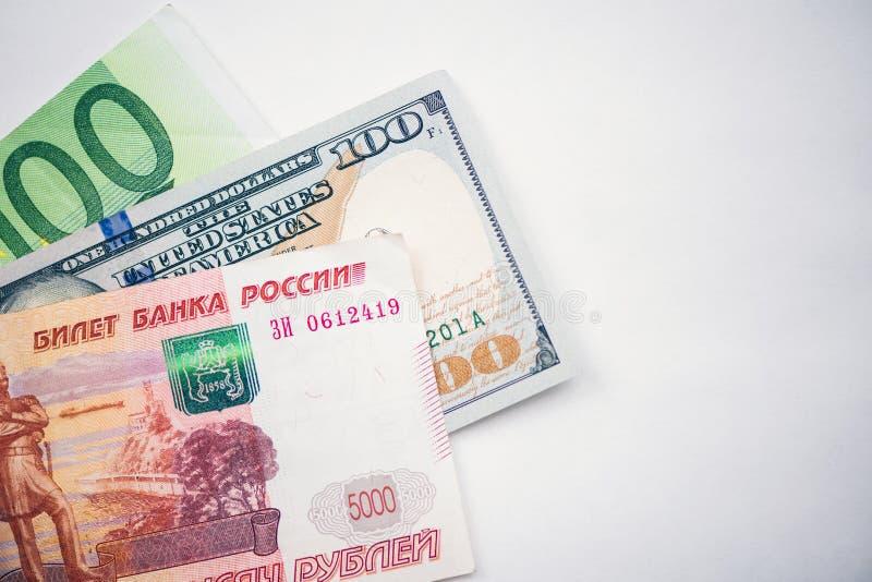 Dollaro, euro banconote Valute internazionali fotografie stock libere da diritti