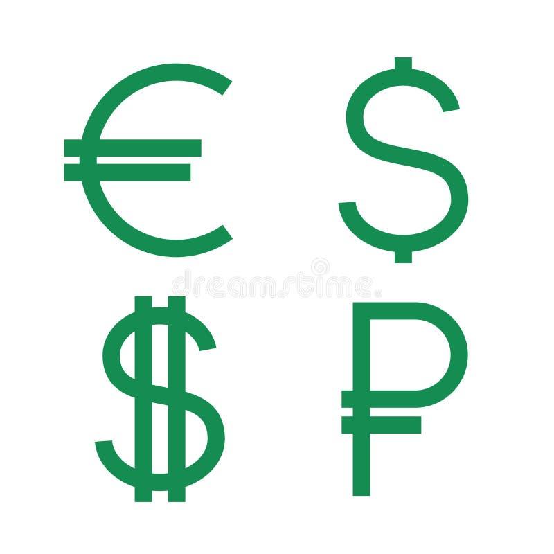 Dollaro, euro, icone della rublo Insieme del segno di valuta Contanti dei soldi isolati su fondo Simboli verdi piani illustrazione di stock